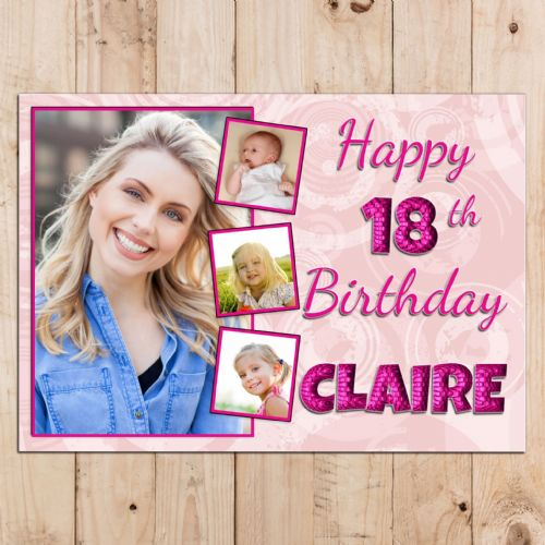Personalised Pink Happy Birthday PHOTO Poster Banner N93